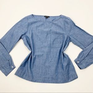 J,Crew Mercantile Blue Chambray Long Sleeve Blouse